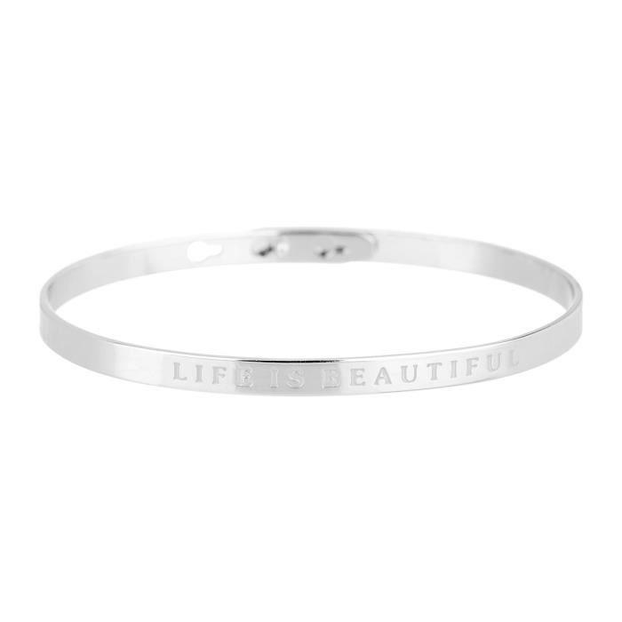 """BRACELET - GOURMETTE BIJOUX MESSAGE - Bracelet """"Life Is Beautiful"""" Lait"""