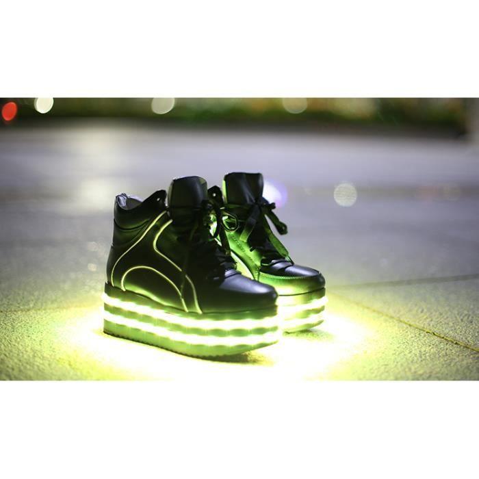 Haut-dessus lacets Femme 7 LED de couleur des chaussures légères jusqu'à Sneaker