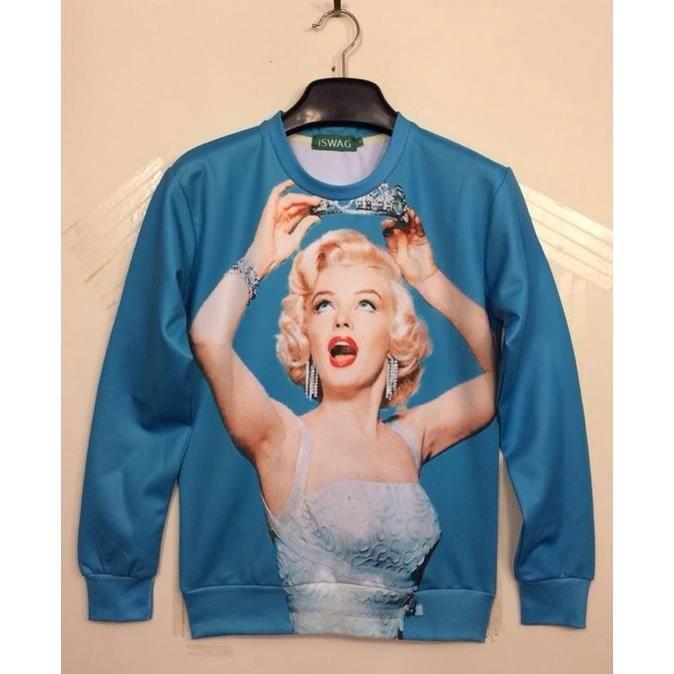 7b9e67d73e femmes sexy d'hiver Marilyn Monroe / dessin animé / emoji le jogging  Sweatshirt 3D Print hommes Casual chemise à manches longues