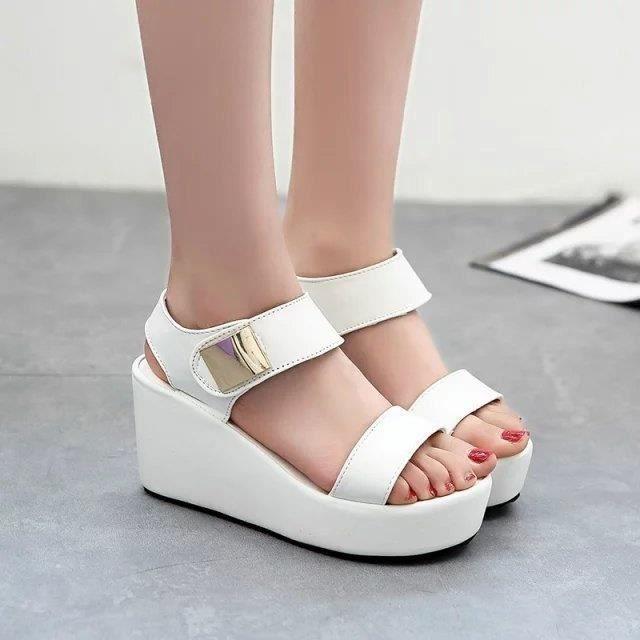 @GLAM Pente avec Sandals étanches avec épais à talons Fish Mouth Muffin Bottom Velcro L Sandales sr2DrtT
