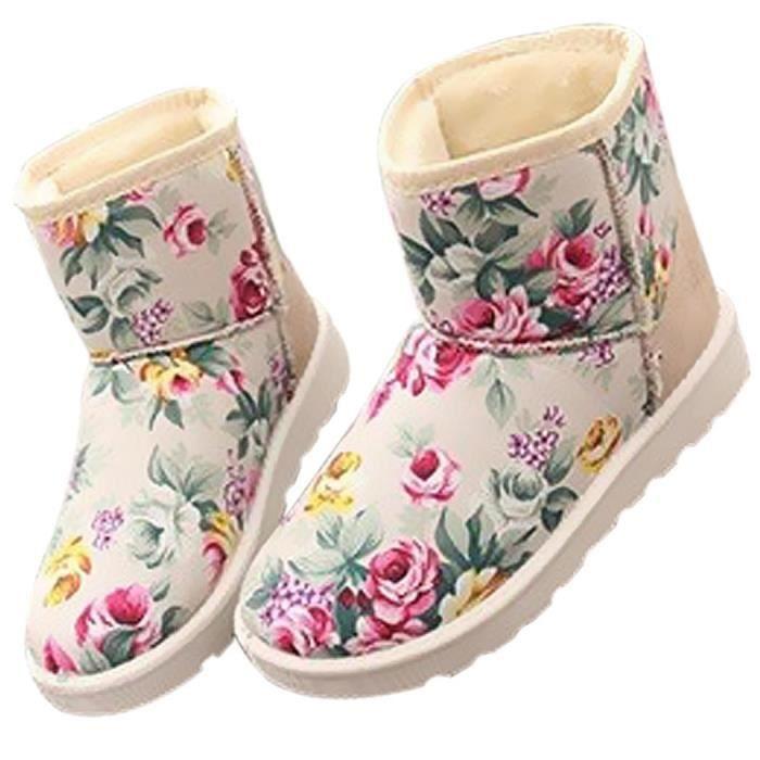 Botte de neige Botte Hiver Casual Floral orteil rond plat peluche bottes de neige court
