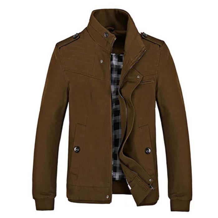 Jacket Mode Mince Unie Slim Casual Blouson Fit Couleur Veste Homme 80nAYqw4Tx