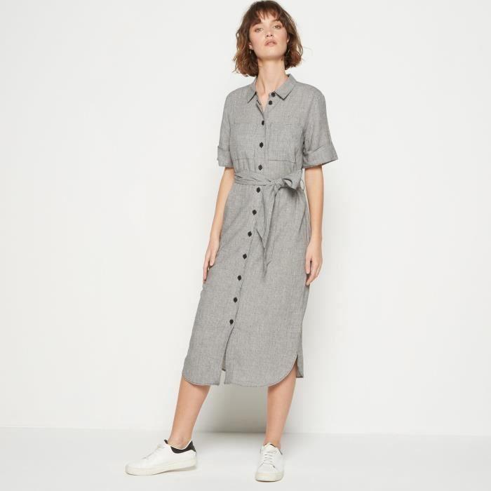 22a52e063c1 Robe chemise en viscose lin pied de puce Beige Beige - Achat   Vente ...