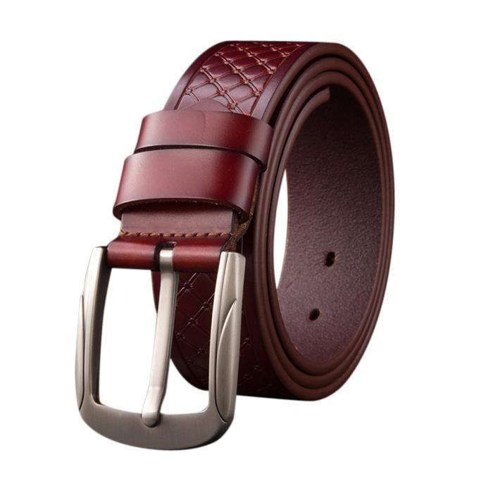272ab2a434dc Mode Mens cuir ceinture boucle souple courroie de loisir Bleu Bleu ...