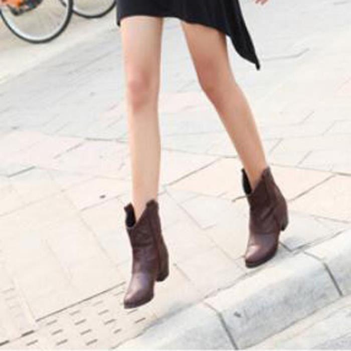 Mode Épais Chaussures Bottes Bottines Marron Cuir Avec Les Femmes rthxQsCdB