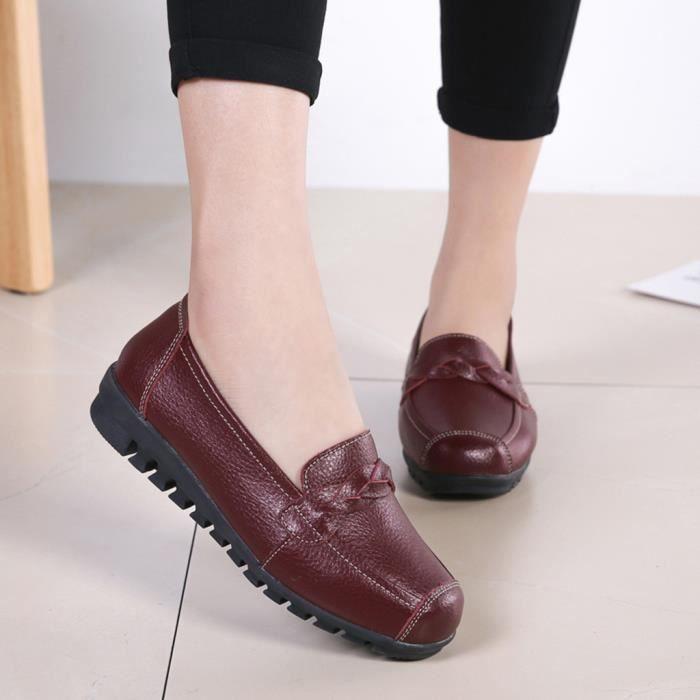 Veberge Cuir Femmes Chaussures Plates 2701 Bateau Simples Loisirs on Rondes Slip Pois Toe wXW4OndPqZ