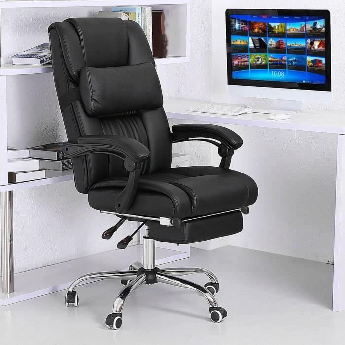 Chaise De Bureau Fauteuil Avec Repose Pieds Ultra Confortable Pivot