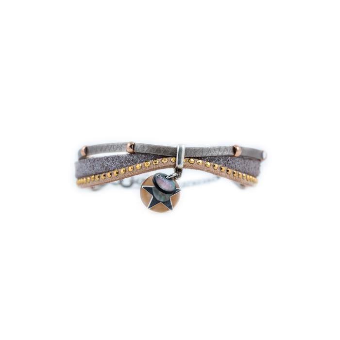 Bracelet en cuir avec breloques Martin Chocolat- Taille : L - Couleur marketing : Marron