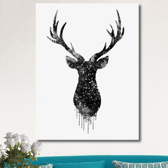 tempsa 40x30cm tableau peinture d 39 impression en toile t te de cerf sans cadre type 2 achat. Black Bedroom Furniture Sets. Home Design Ideas