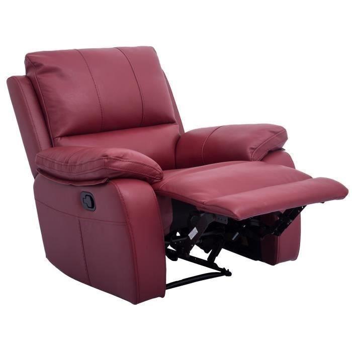 alfred fauteuil de relaxation lectrique en cuir et simili rouge contemporain l 92 x p 94 cm