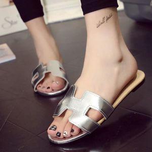 chaussures plage Haut qualité pantoufles d'été sandales plates femme Super sandals beach sandales pantoufles d dssx108jaune38 uQIml5w