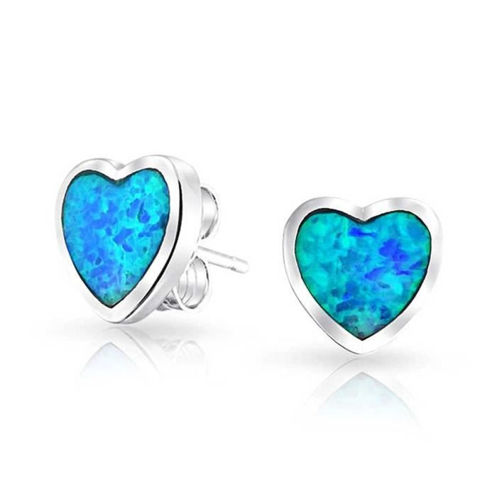 925 Argent Sterling Blue Opal Inlay Coeur Boucles Goujon