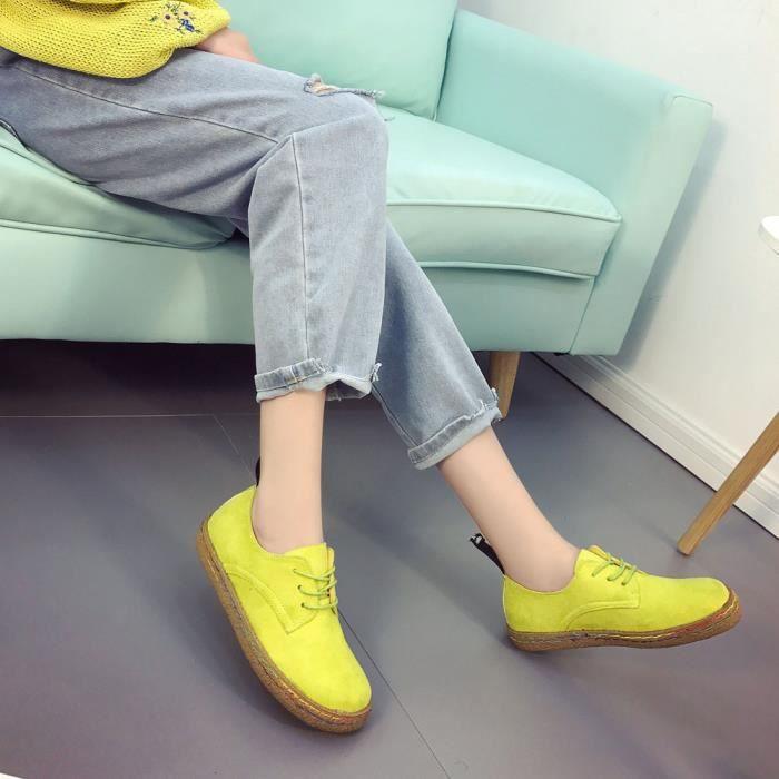 Sidneyki®Femmes dames douces cheville plat Martin chaussures femmes en daim floqué lacets bottes Jaune XKO259