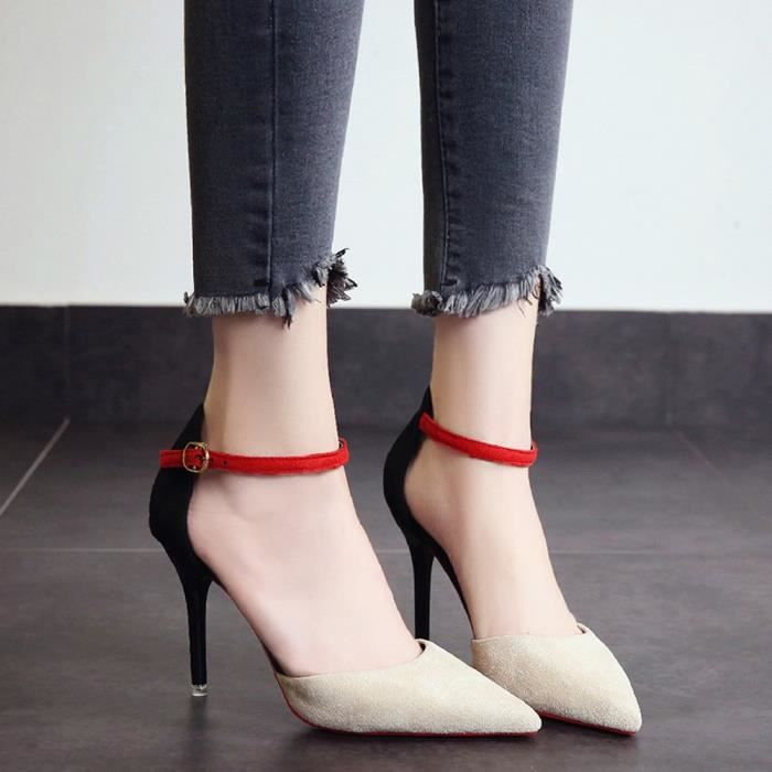Party Slip on 6119 High Pumps Colors Mixed Fine Toe Shoes Heel Beige xz Fashion Pointed Femmes SxnwqPpU0Y