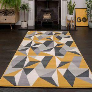 tapis gris et jaune achat vente pas cher. Black Bedroom Furniture Sets. Home Design Ideas
