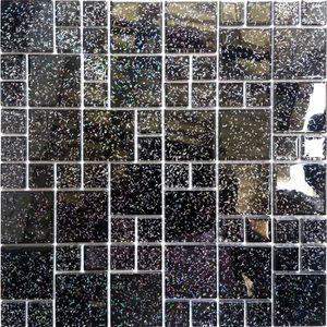 CARRELAGE - PAREMENT Carrelage mosaïque en verre Noir Avec des paillett