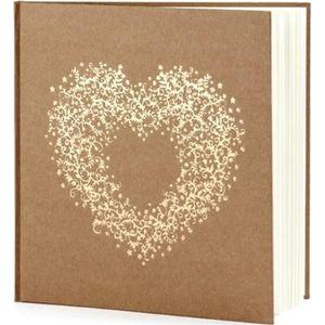 livre d or mariage kraft naturel motif coeur or le livre d or lin naturel achat. Black Bedroom Furniture Sets. Home Design Ideas