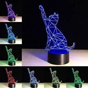 LAMPE A POSER Maison 7ColorsChat Lampe 3D Visual LedVeilleus