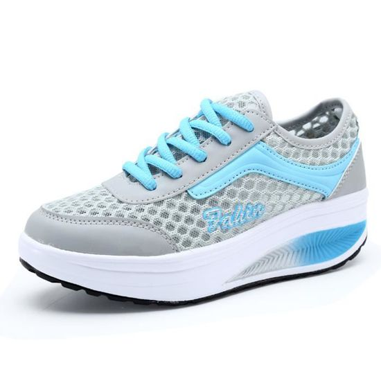 Plate-forme Mesh Slip-On Chaussures Femme Fitne...  Bleu - Achat / Vente chaussure toning