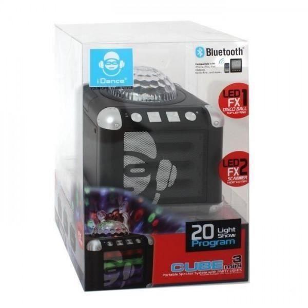I-DANCE CM3 Noir 10Watts Boule et Front Lumineux Boombox Bluetooth