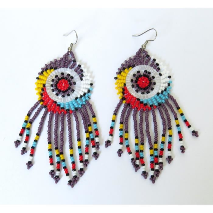 Boucles doreilles en perles dAfrique Zulu féminin - Dreamcatchers (petit) - pourpre et multicouleur E4VL7