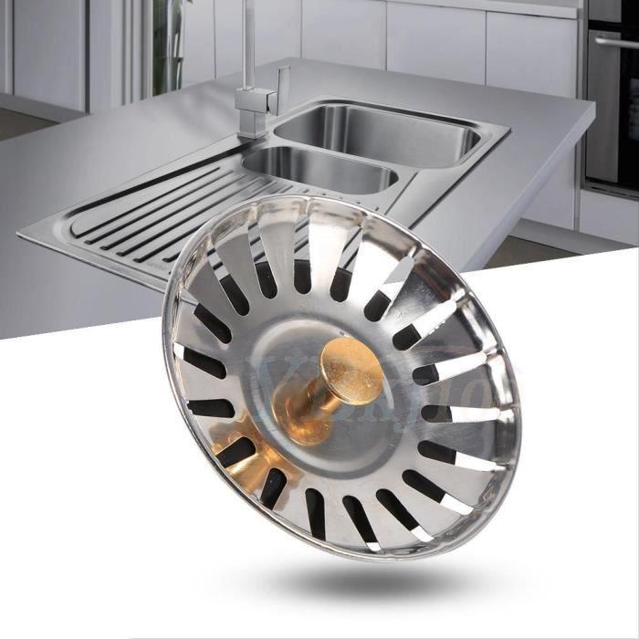 Couvercle de filtre évier cuisine Filtre de panier en acier ...