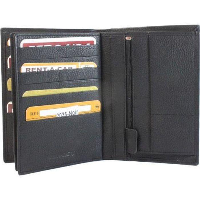 Frédéric Johns® - Grand portefeuille en cuir de vachette véritable très  pratique avec 4 volets - 22 emplacements pour cartes - cuir 3a39cb97434