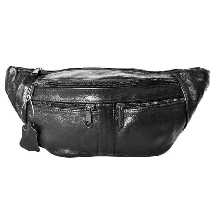 sac banane en cuir de vachette femme homme à ceinture réglable noir marron  Fazal (noir - TU) 36a1bc46bd0