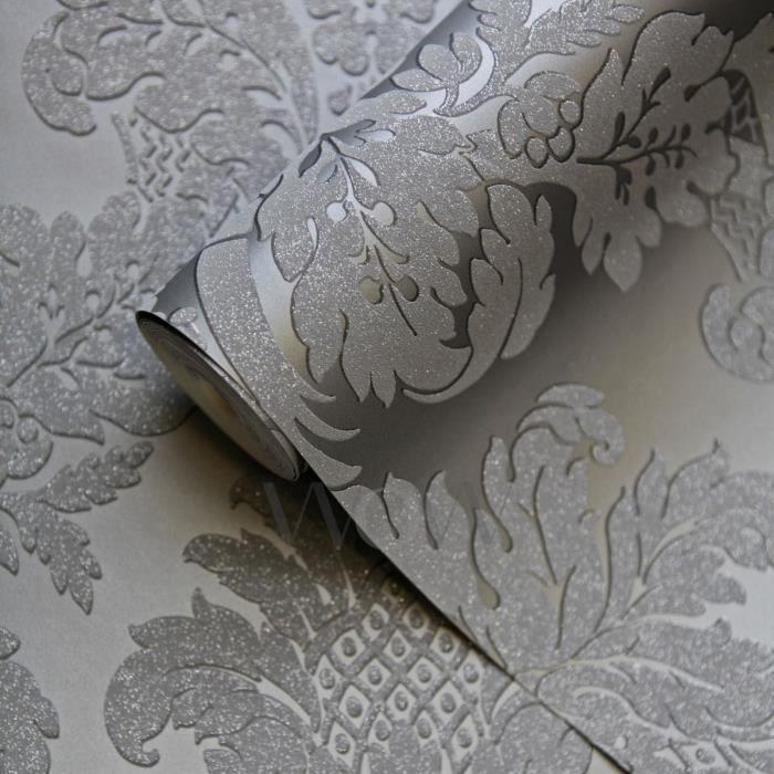 Papier Peint Damasse Paillete Gris Argent Poirier Uk10435 Achat