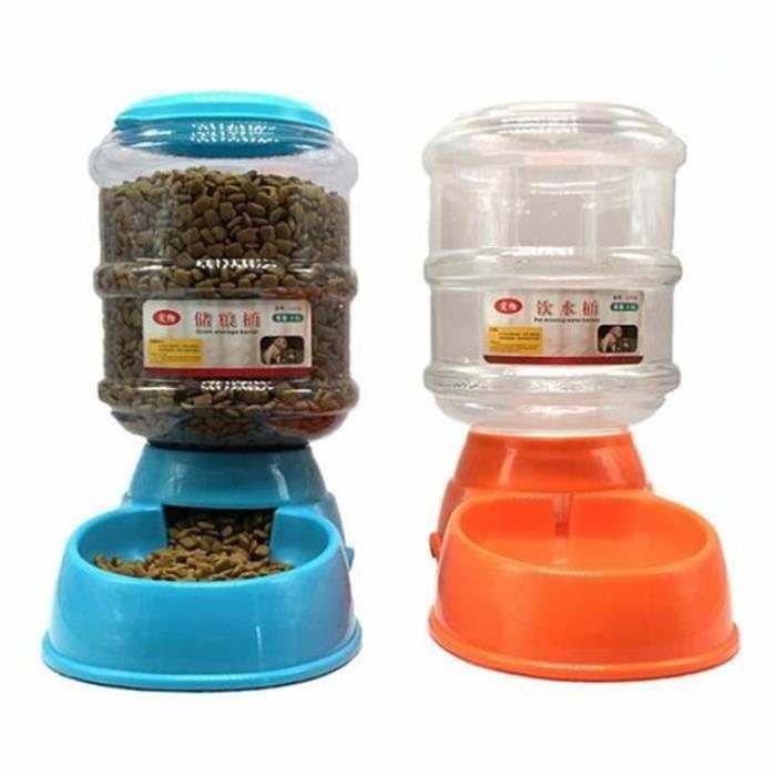 Baivhuang Lot De 2 Distributeur Croquettes Et D'eau Pour Chien Chat 3.5l