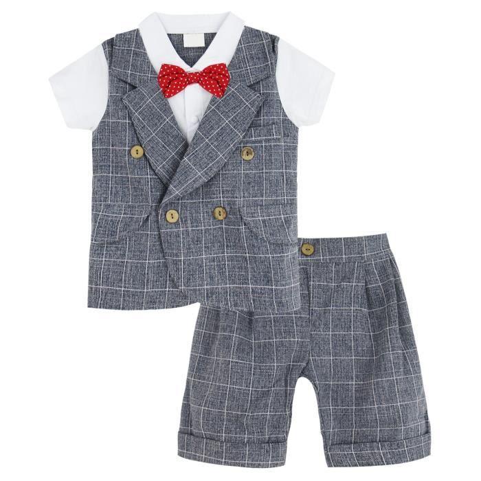 78ccddf418d1e Vêtements de bébé Gentilhomme Garçons Ensemble Nouveau Né Pyjama Manches  Court enfant 0-24M