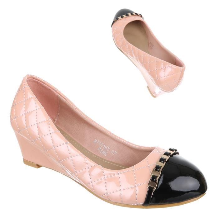 Chaussures femmes Escarpins cale Rose Rose - Achat   Vente escarpin ... 9337a6d10a6c