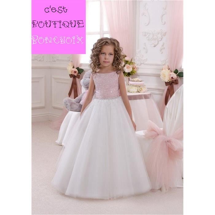 Robe de Cérémonie Mariage Fille Enfant Longue en Tulle Sans Manches Rose et Blanc