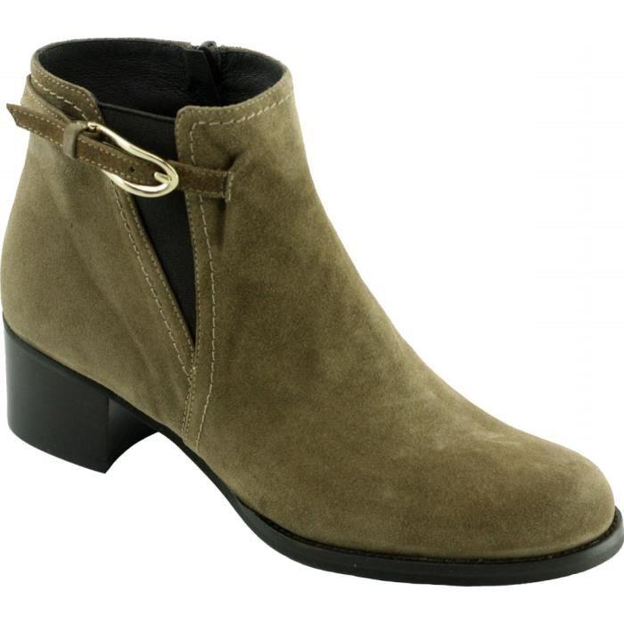 df7a03f9109d8d Cana Pilar - Bottine raffinée à talon chaussure Boots mode pour femme  petites pointures marque Plumers cuir velours beige