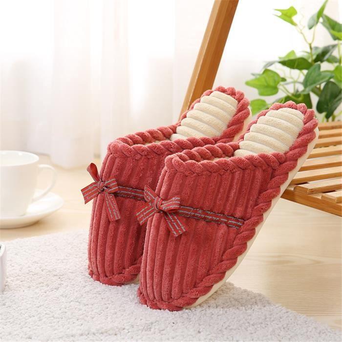 Pantoufles Femmes Chaussures Hiver Maison Meilleure Qualité Chausson Femme Pour L'Hiver Chaussures Grande Taille 35-40,orange,35