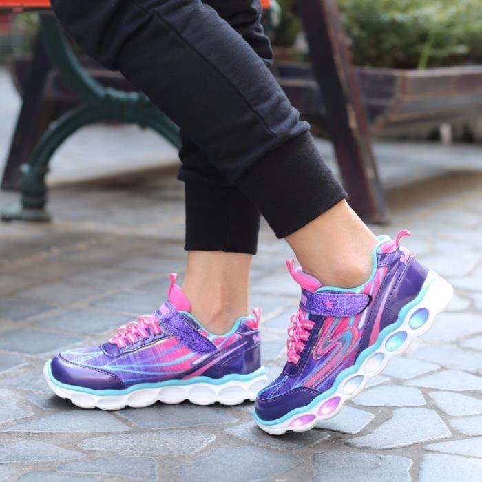 Enfants chaussures de sport émettant de la lumière Chaussures de course décontractées LED Baskets rougeoyantes colorées Taille 25-36