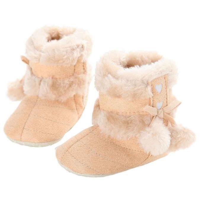 BOTTE Mignon Enfant En Bas Âge Bébé Filles En Peluche Doux Semelle Anti-dérapant Chaud Neige Chaussures De Neige@JauneHM jJvLI