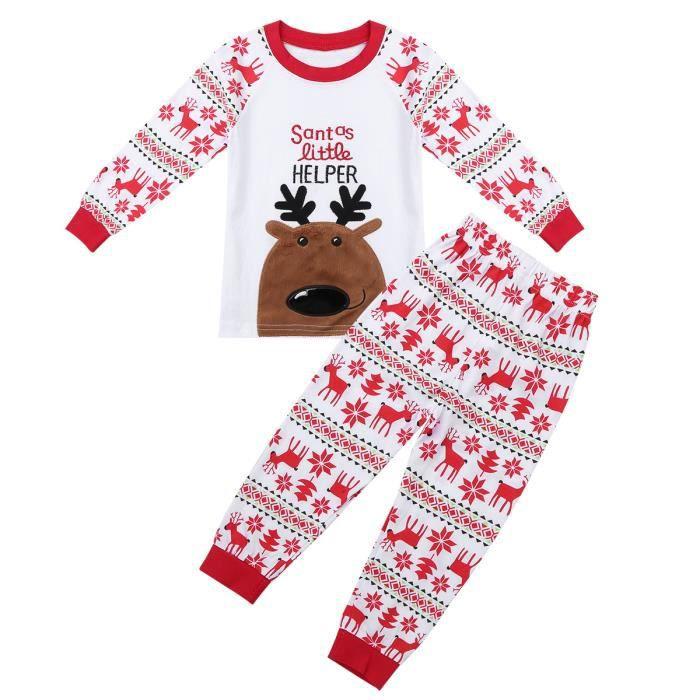 e2ab4b7329f78 Pyjama enfant fille garçon Noël - manches longues en coton motif renne  vêtements de nuit - de 18Mois à 7 ans