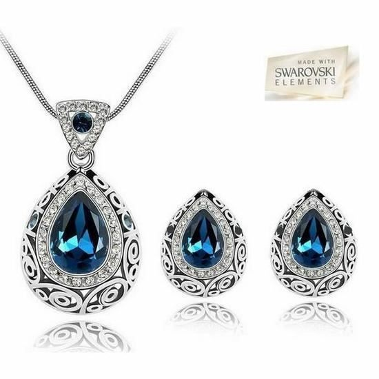 Swarovski ElementsParure Bijoux Duchesse Goutte cristal Bleu