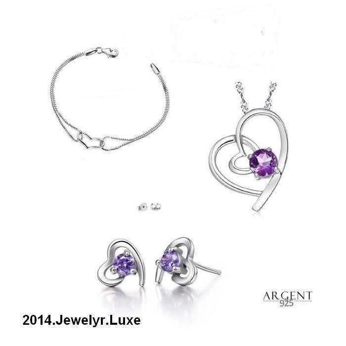 Parure Bijoux Coeur Swarovski Elements Violet et Bracelet Argent 925
