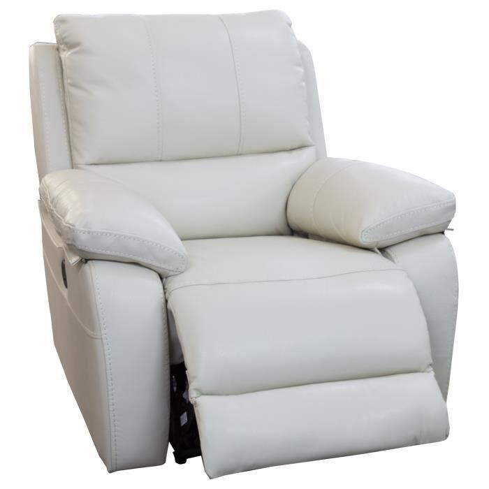 ALFRED Fauteuil de relaxation électrique en cuir et simili beige