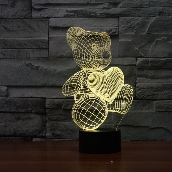 L Ours De Coeur Cute Cartoon Forme Lampe Led 3d Bebe Veilleuse