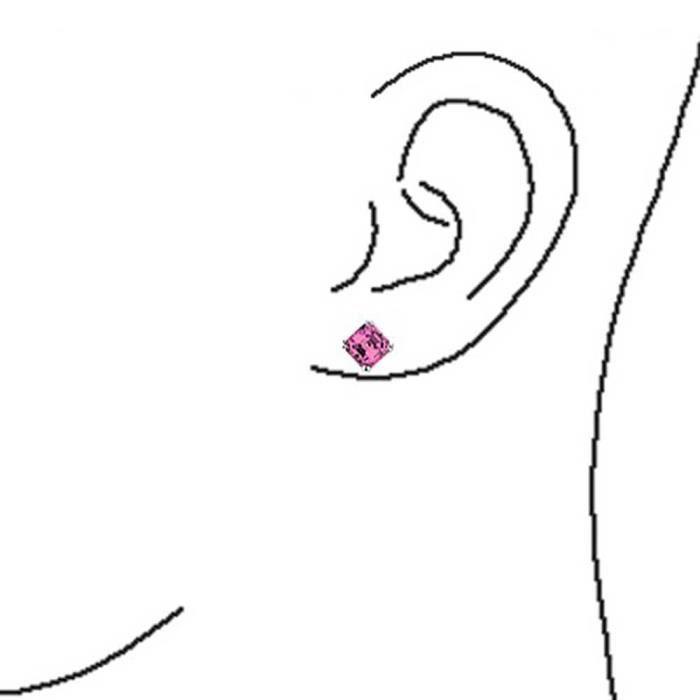 Bling Jewelry CZ Rose Asscher Cut Stud Earrings pendentif en argent 8mm