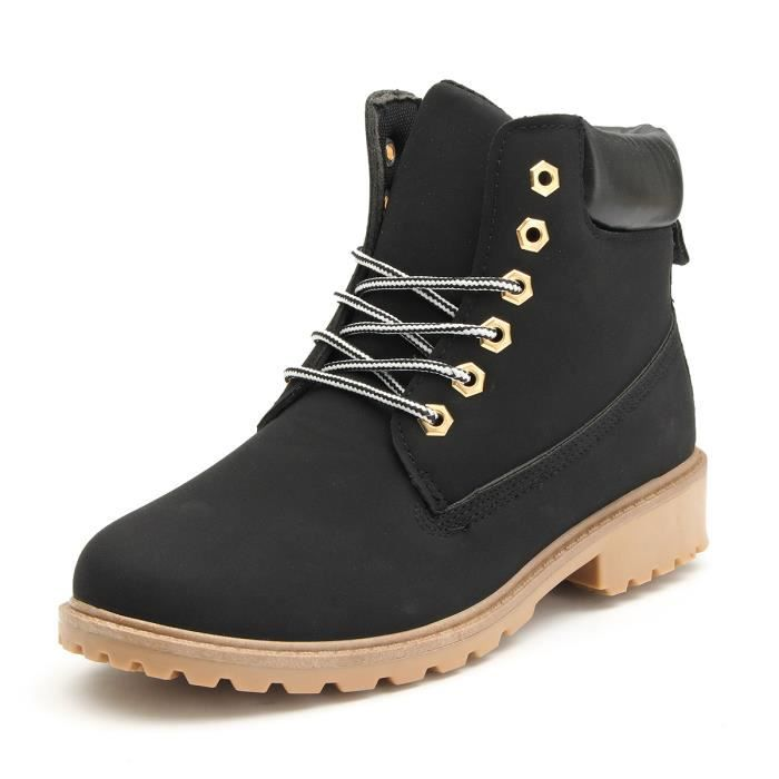 Femme Martin Bottines Chaussures LacetDynamiqueAutomneHiver Chaud