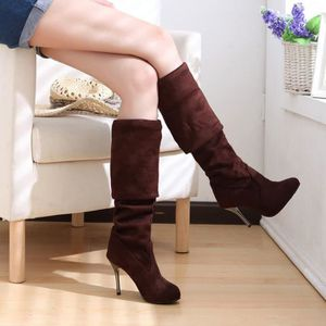 Point Toe femmes à talons hauts bottes automne hiver femmes montées chaussures simples marron WE587 6RS0H3cu
