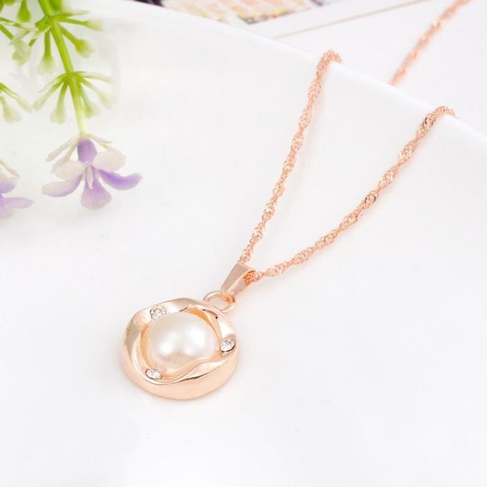 Collier plaqué or blanc perle des femmes, boucles doreilles, Ensemble Bijoux Bague pour 7233s FXZ6P