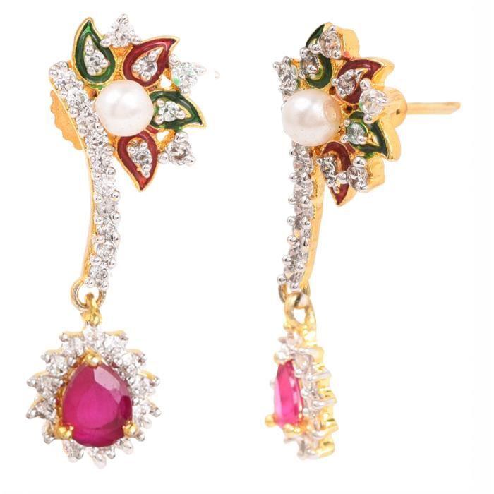 Pendentif femme Set - Pendentif diamant plaqué or américain Collier Set Avec Party Fancy Wear bou D09MC