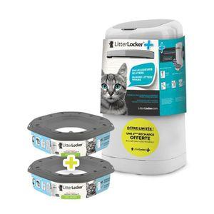 LITTER LOCKER Plus Poubelle de liti?re avec 2 recharges offertes - Blanc et gris - Pour chat