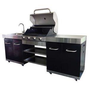 ... CUISINE EXTÉRIEURE SUMMER Cuisine Du0027extérieur Noire 4 Brûleurs ...