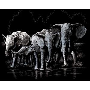 LA FOURMI Carte gratter 20,3x25,4cm argent. Troupeau d`éléphants